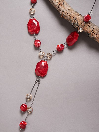 Golden and Red Beads Contemporary Necklace