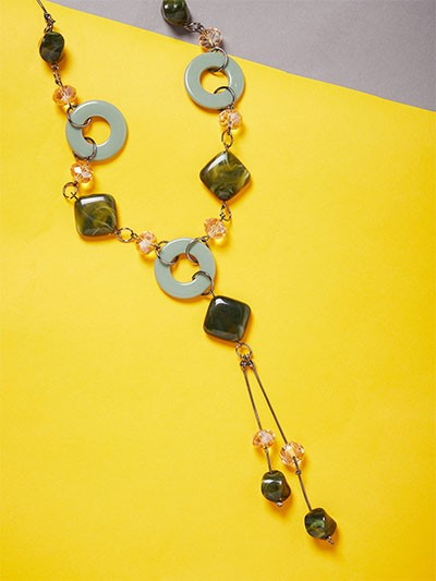 Dual Toned Beads Contemporary Necklace