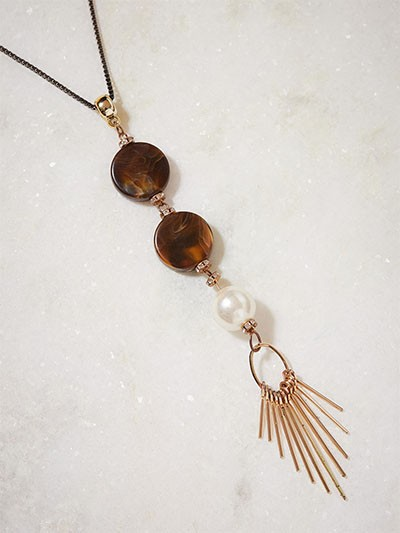Brown and Off-White Beads Contemporary Necklace