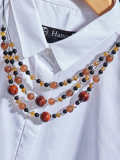 Layered Multicolored Beads Contemporary Necklace