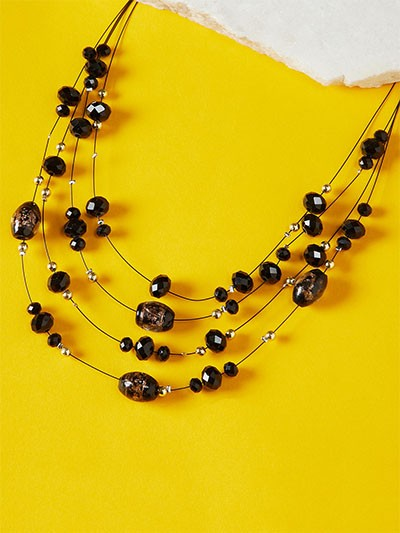 Layered Black Crystal Bead Necklace