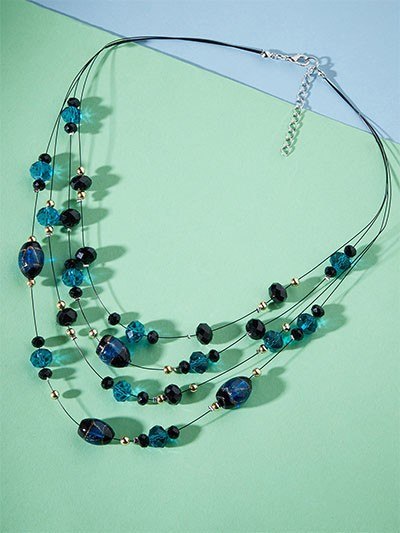Layered Blue Crystal Bead Necklace