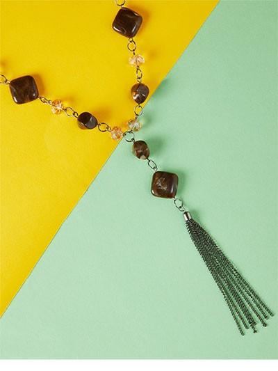 Brown Beaded Contemporary Necklace