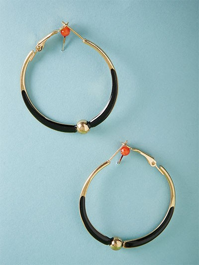 Black and Golden Hoop Earrings