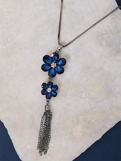 Blue Laered Flowers Necklace For Women