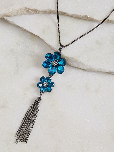 Blue Flower Contemporary Necklace