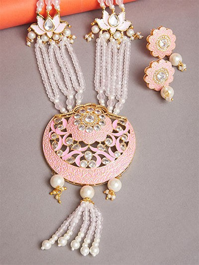 Floral Pink and White Kundan Necklace Set