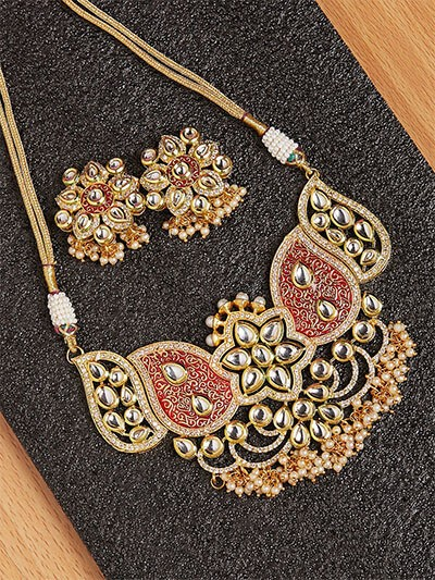 Red and Golden Kundan Necklace Set