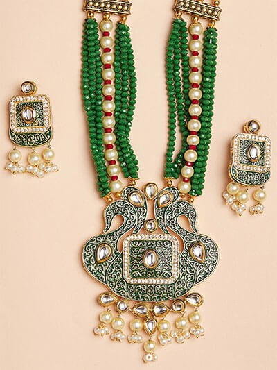 Green Peacock Kundan Pendant Necklace Set