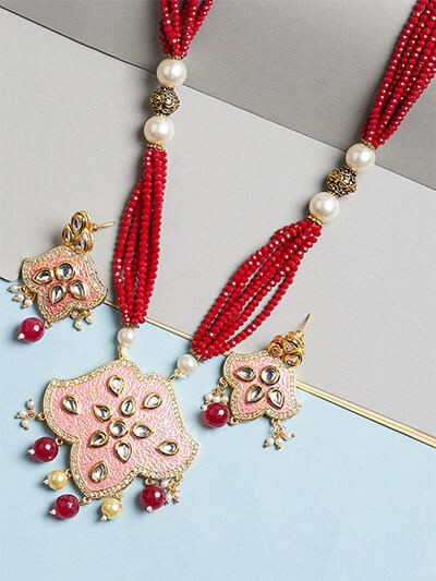 Red and Pink Kundan Pendant Necklace Set