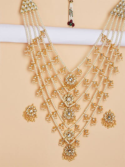 White and Golden Kundan Studded and Beaded Statement Layered Necklace Set