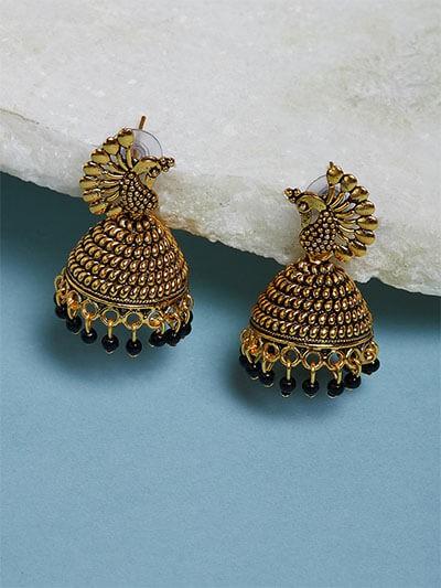 Golden Peacock Jhumka Earrings