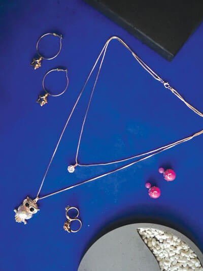 Set of Contemporary Layered Necklace, Ring and Earrings