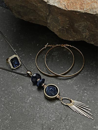Set of Contemporary Necklace, Hoop Earrings and Ring