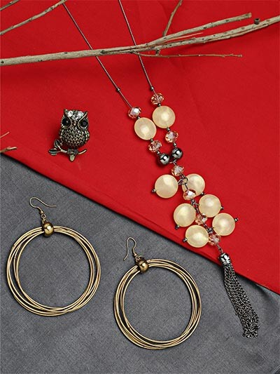 Set of Contemporary Necklace, Hoop Earrings and Owl Ring