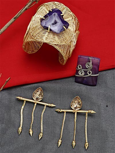 Set of Contemporary Earrings, Cuff and Ring
