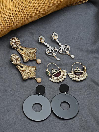 Set of Contemporary Earrings, Ethnic Earrings and American Diamond Earrings