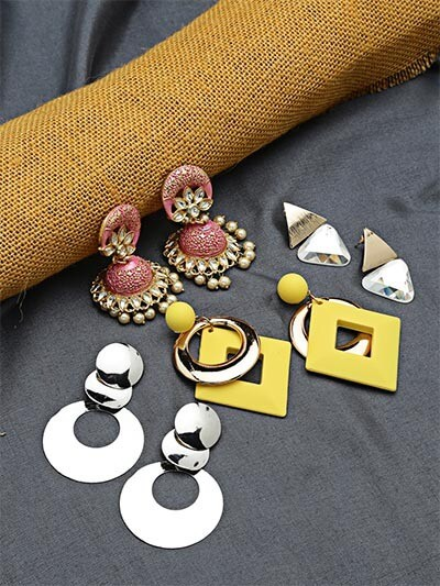 Set of Contemporary Earrings and Pink Enamel Jhumkas