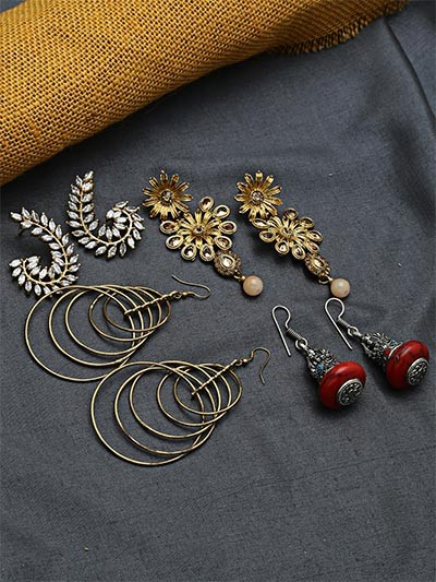 Set of Ethnic, American Diamond, Hoops and Western Earrings