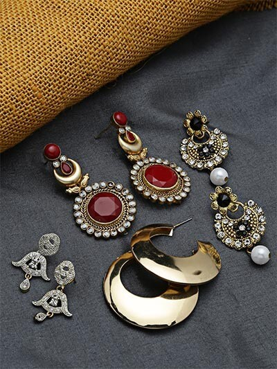 Set of Ethnic, Hoops and American Diamond Earrings