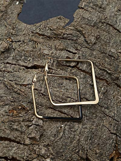 Golden and Black Square Earrings