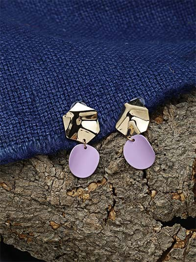 Golden and Purple Dangle Earrings
