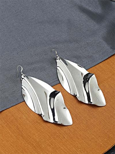 Long Silver Leaf Earrings
