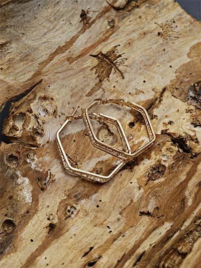 Golden Geometrical Earrings For Women