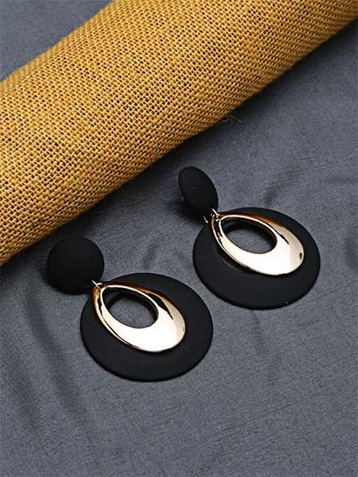 Black and Golden Dangle Earrings