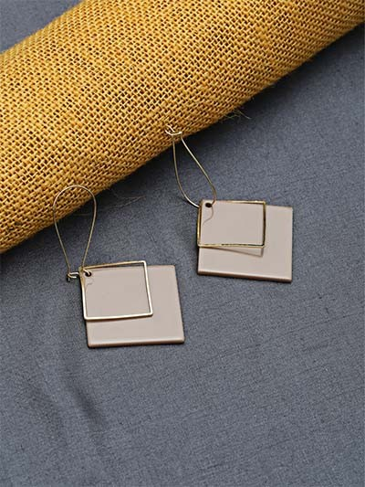 Golden and Brown Geometrical Dangle Earrings
