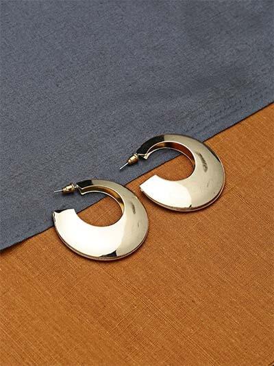 Golden Open Hoop Earrings For Women
