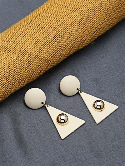 Cream and Golden Dangle Earrings