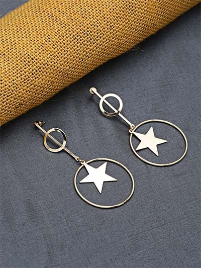 Golden Star Dangle Earrings For Women