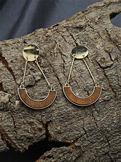 Golden and Brown Dangle Earrings