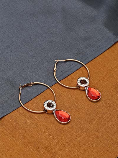 Golden and Red Hoop Earrings