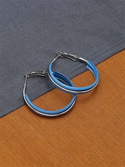 Blue and White Hoop Earrings For Women