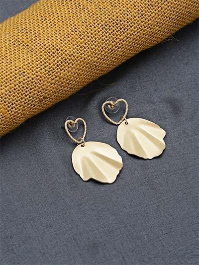Golden Heart Dangle Earrings