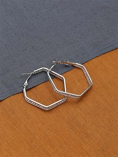 Studded Silver Geometrical Earrings