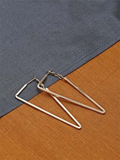 Golden Triangular Hoop Earrings For Women