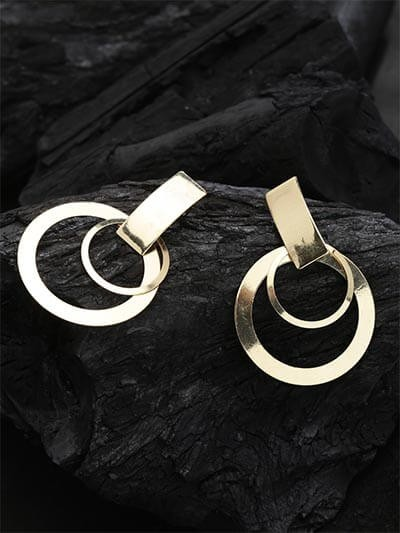 Lightweight Golden Dangle Hoop Earrings