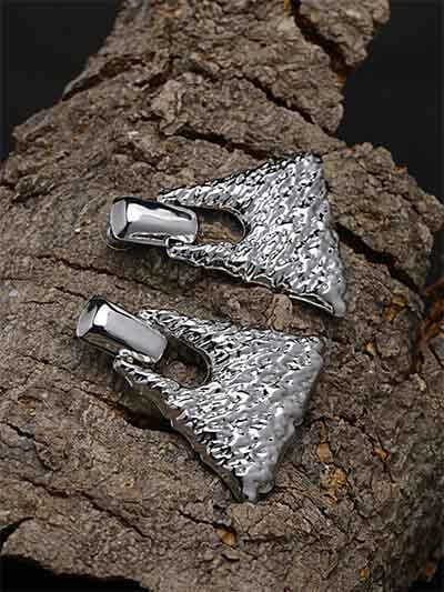 Textured Silver Bell Earrings