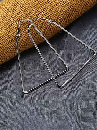 Lightweight Silver Triangular Earrings