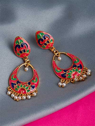 Pink Meenakari Dangle Earrings
