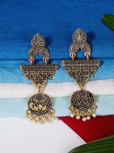 Lightweight Golden Ethnic Dangle Earrings