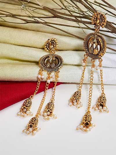 Long Golden Peacock Kashmiri Earrings
