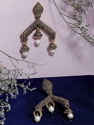 Artistic Golden Dangle Earrings