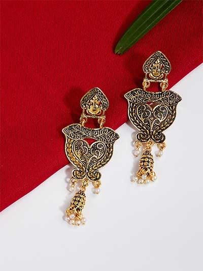 Ganesha Golden Ethnic Dangle Earrings