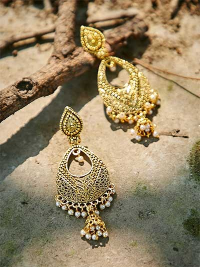 Classic Long Golden Dangle Earrings
