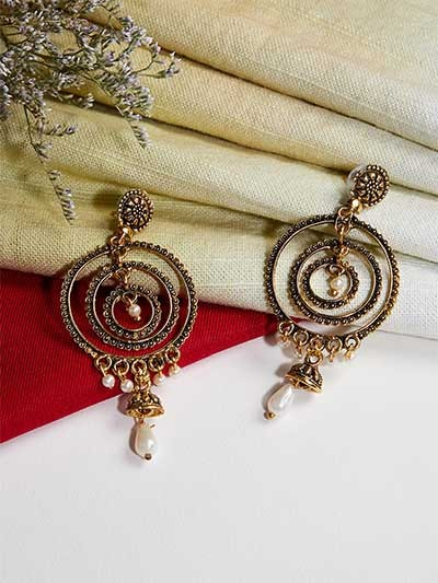 Golden Chandbali Dangle Earrings
