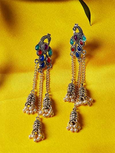 Long Multicolored Peacock Kashmiri Earrings